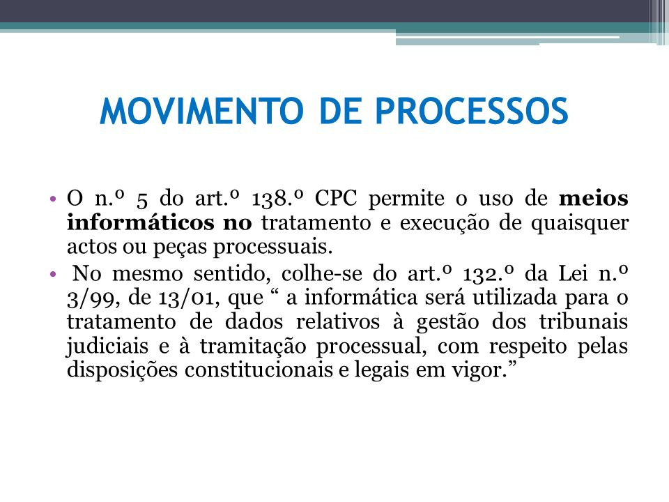 MOVIMENTO DE PROCESSOS