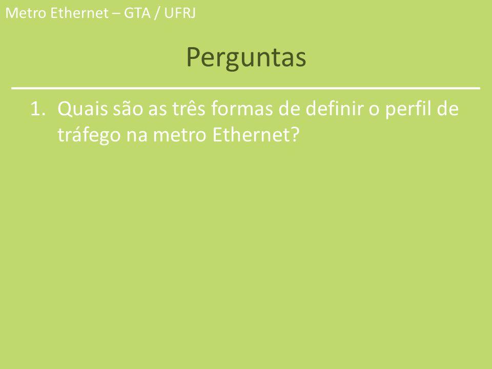 Perguntas Quais são as três formas de definir o perfil de tráfego na metro Ethernet