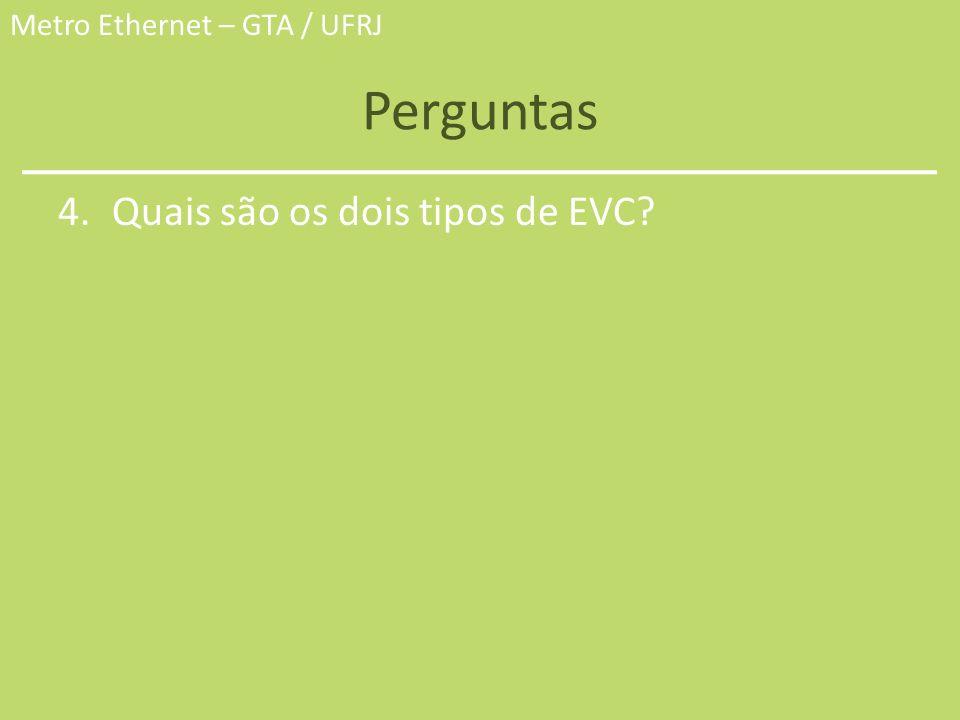 Perguntas Quais são os dois tipos de EVC