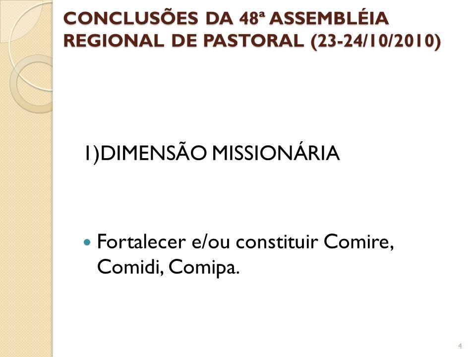 CONCLUSÕES DA 48ª ASSEMBLÉIA REGIONAL DE PASTORAL (23-24/10/2010)
