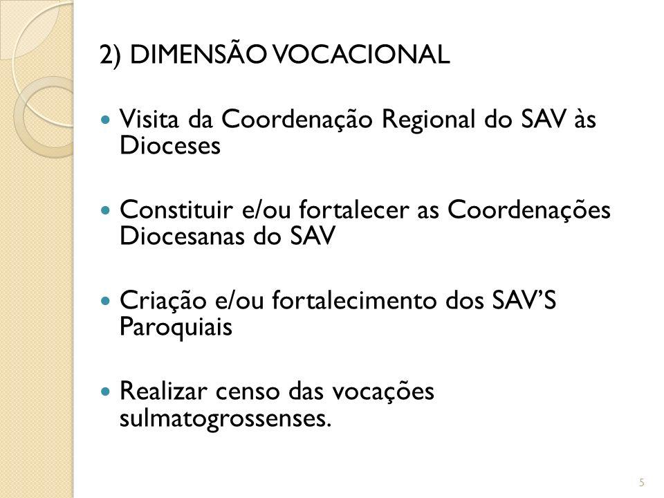 2) DIMENSÃO VOCACIONAL Visita da Coordenação Regional do SAV às Dioceses. Constituir e/ou fortalecer as Coordenações Diocesanas do SAV.