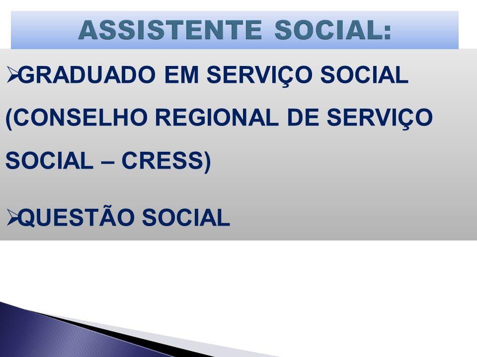 ASSISTENTE SOCIAL: GRADUADO EM SERVIÇO SOCIAL (CONSELHO REGIONAL DE SERVIÇO SOCIAL – CRESS) QUESTÃO SOCIAL.