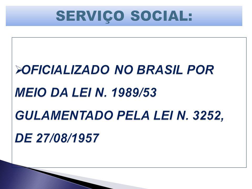 SERVIÇO SOCIAL: OFICIALIZADO NO BRASIL POR MEIO DA LEI N.