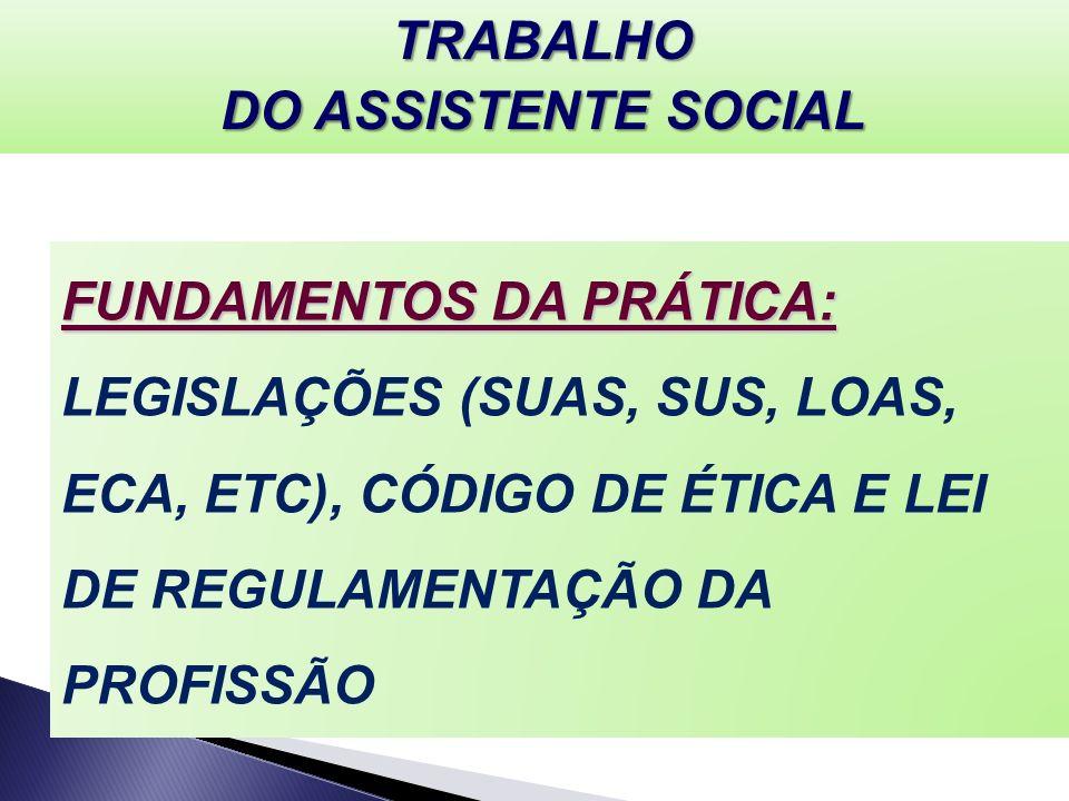 TRABALHO DO ASSISTENTE SOCIAL.