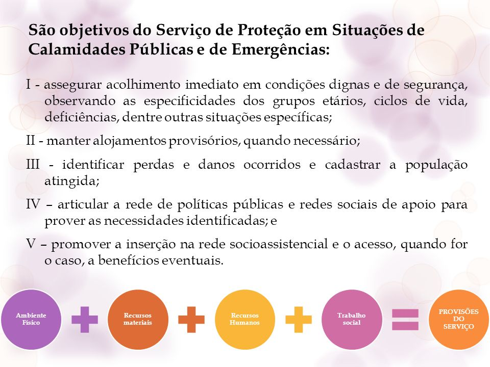 São objetivos do Serviço de Proteção em Situações de Calamidades Públicas e de Emergências: