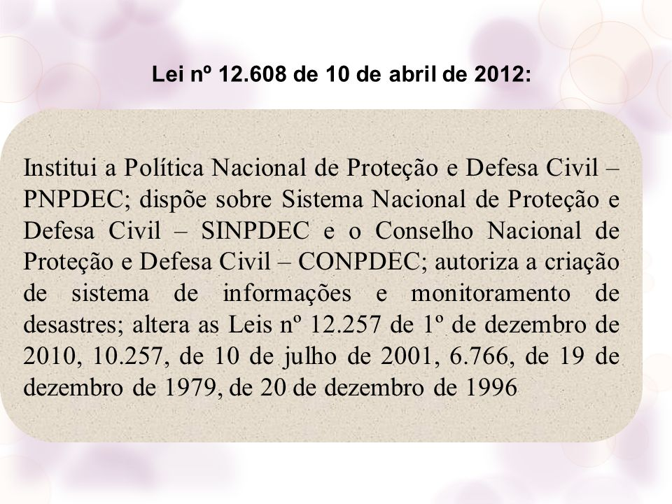 Lei nº 12.608 de 10 de abril de 2012: