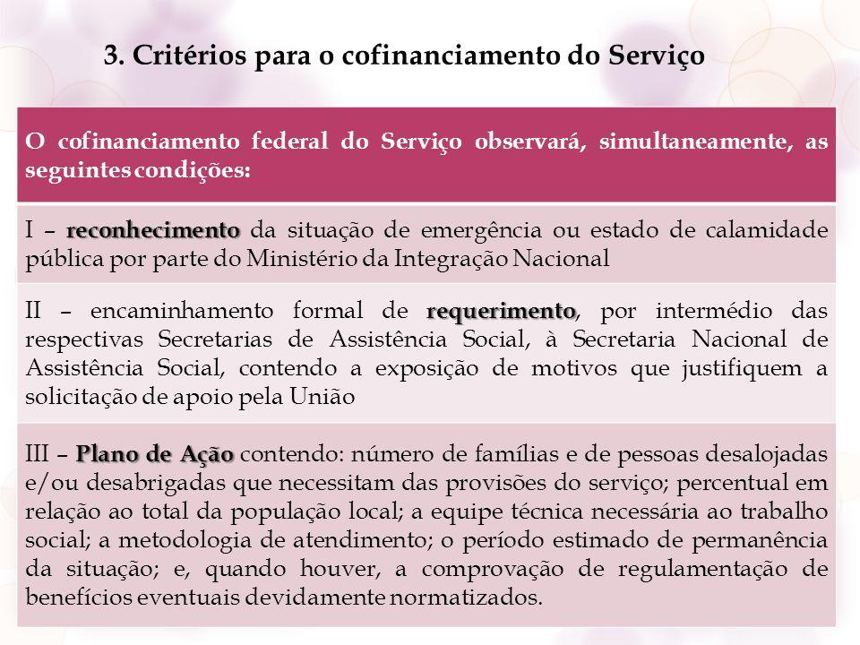 3. Critérios para o cofinanciamento do Serviço