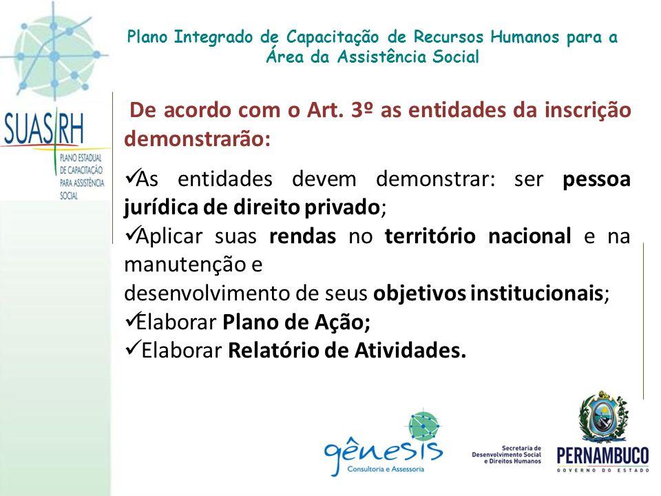 De acordo com o Art. 3º as entidades da inscrição demonstrarão: