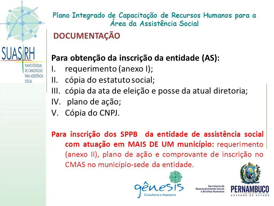 Para obtenção da inscrição da entidade (AS): requerimento (anexo I);