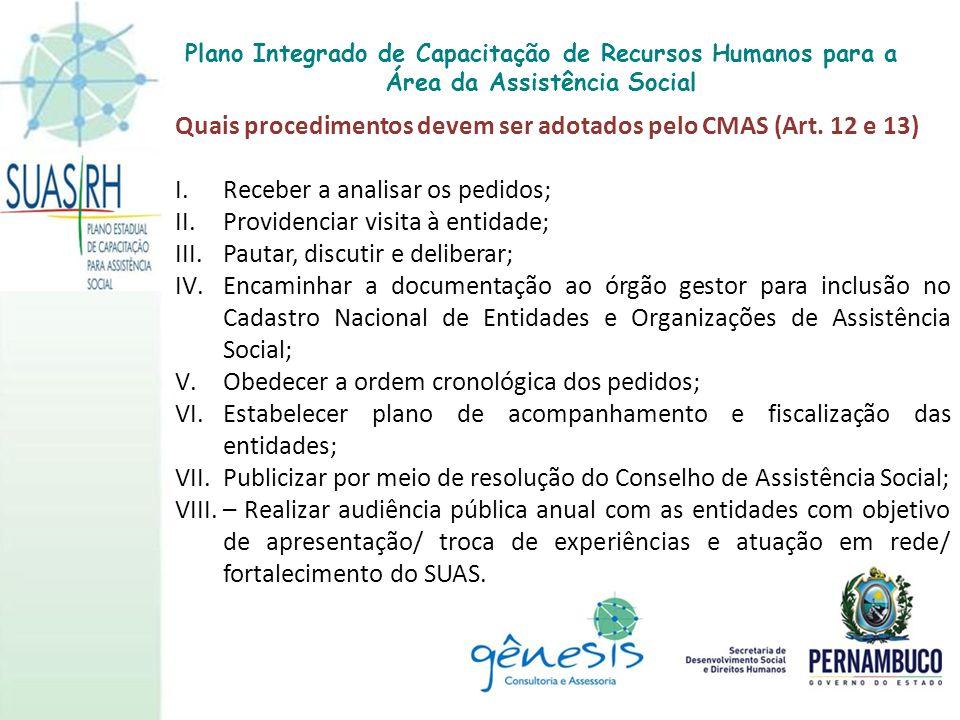 Quais procedimentos devem ser adotados pelo CMAS (Art. 12 e 13)