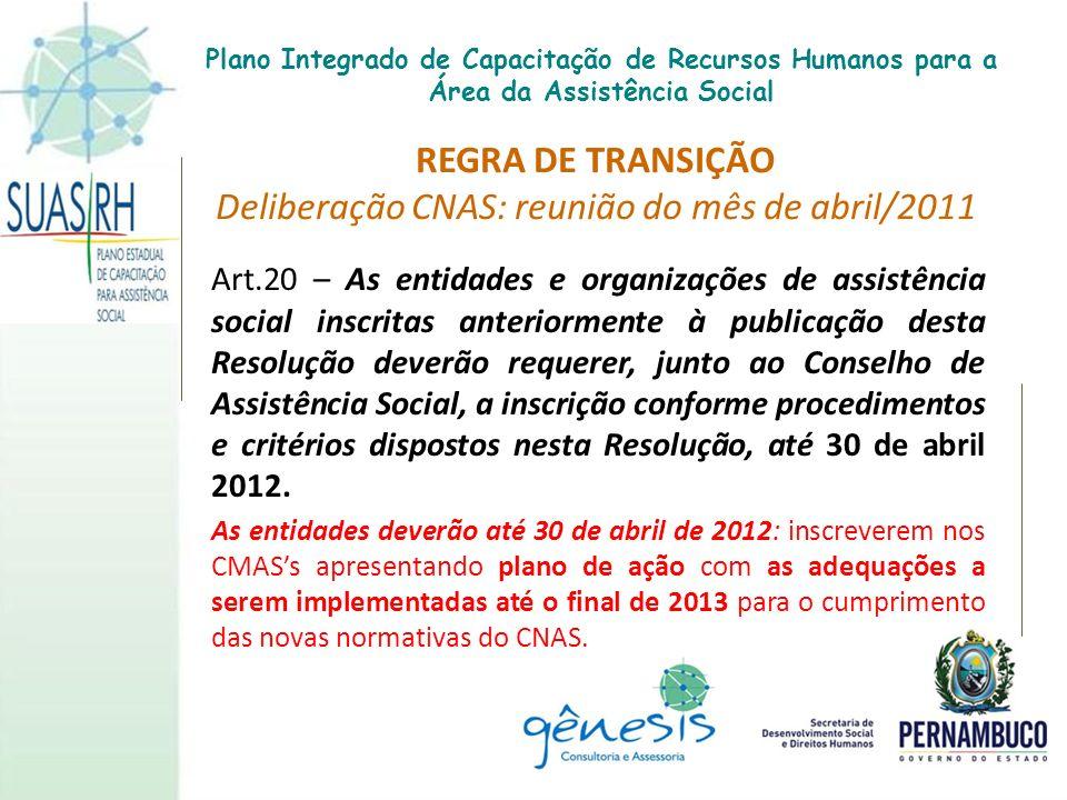 REGRA DE TRANSIÇÃO Deliberação CNAS: reunião do mês de abril/2011