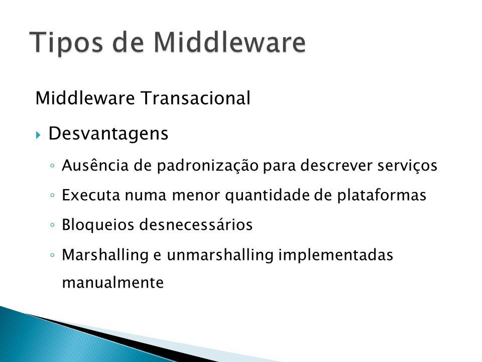 Tipos de Middleware Middleware Transacional Desvantagens