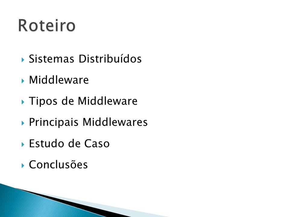 Roteiro Sistemas Distribuídos Middleware Tipos de Middleware