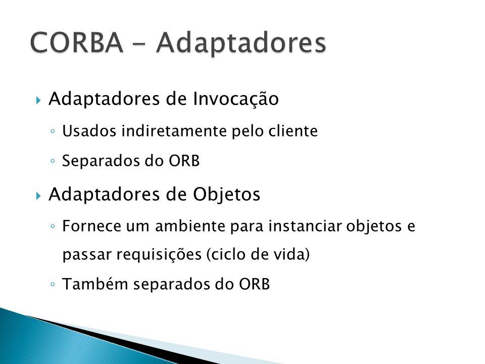 CORBA - Adaptadores Adaptadores de Invocação Adaptadores de Objetos