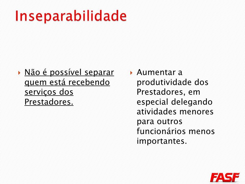 Inseparabilidade Não é possível separar quem está recebendo serviços dos Prestadores.