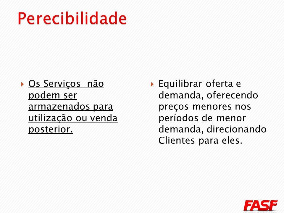Perecibilidade Os Serviços não podem ser armazenados para utilização ou venda posterior.