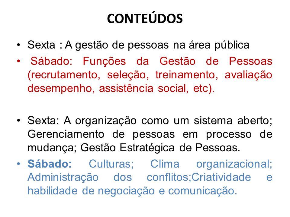 CONTEÚDOS Sexta : A gestão de pessoas na área pública