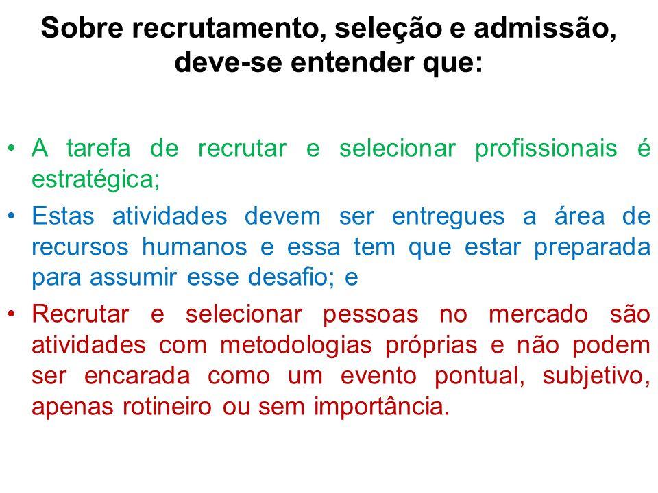 Sobre recrutamento, seleção e admissão, deve-se entender que: