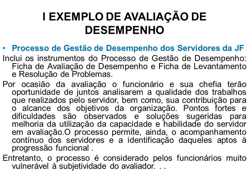 I EXEMPLO DE AVALIAÇÃO DE DESEMPENHO