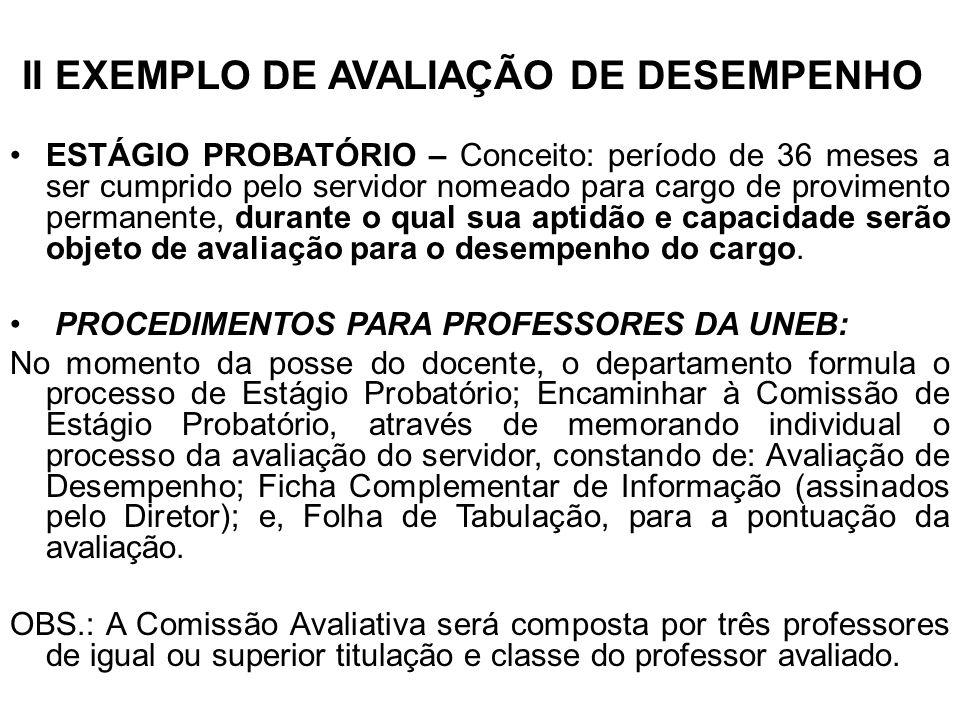 II EXEMPLO DE AVALIAÇÃO DE DESEMPENHO