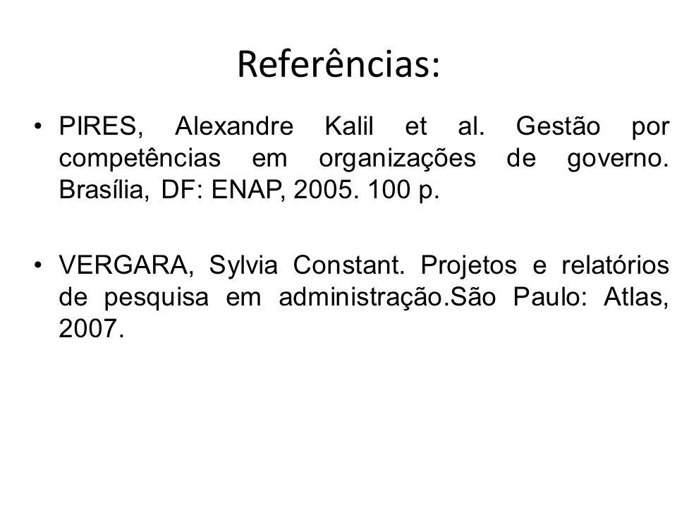 Referências: PIRES, Alexandre Kalil et al. Gestão por competências em organizações de governo. Brasília, DF: ENAP, 2005. 100 p.