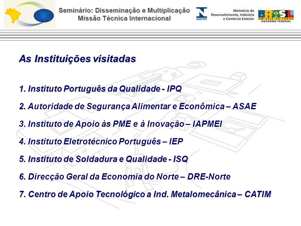 As Instituições visitadas