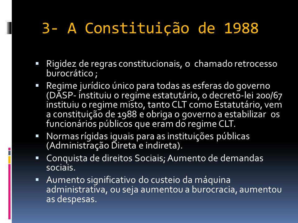 3- A Constituição de 1988 Rigidez de regras constitucionais, o chamado retrocesso burocrático ;