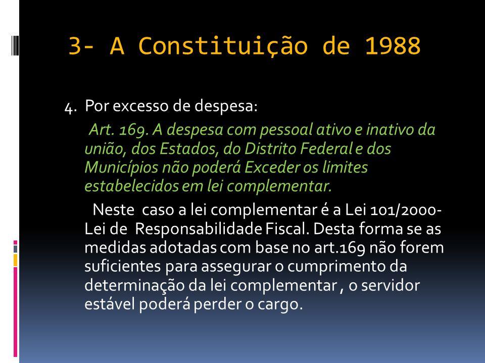 3- A Constituição de 1988 4. Por excesso de despesa: