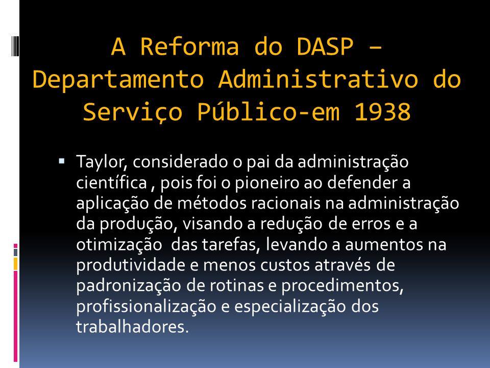 A Reforma do DASP –Departamento Administrativo do Serviço Público-em 1938