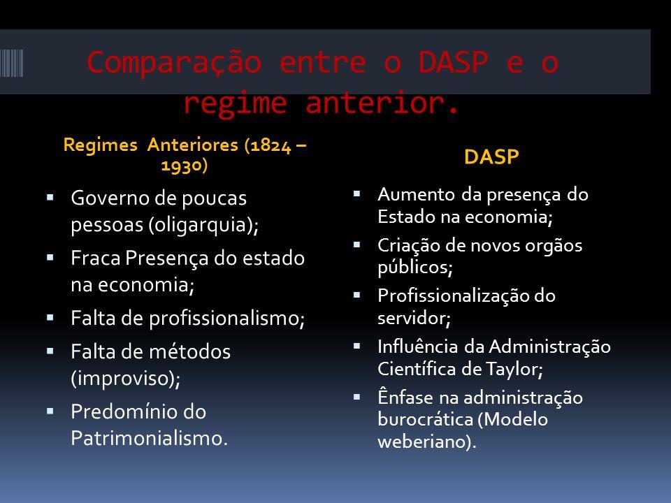 Comparação entre o DASP e o regime anterior.