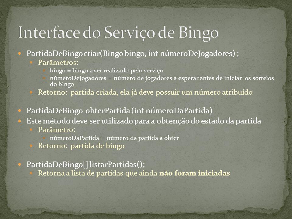 Interface do Serviço de Bingo