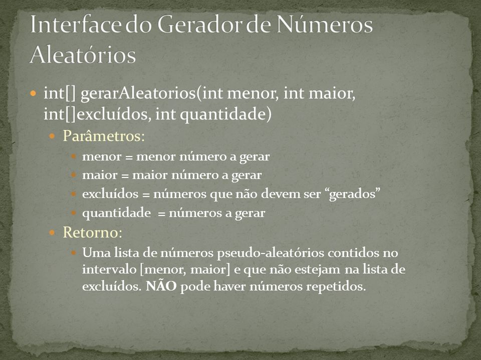 Interface do Gerador de Números Aleatórios