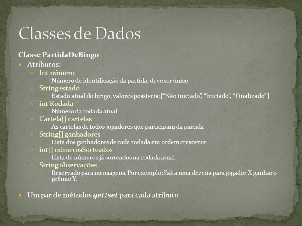 Classes de Dados Classe PartidaDeBingo Atributos: