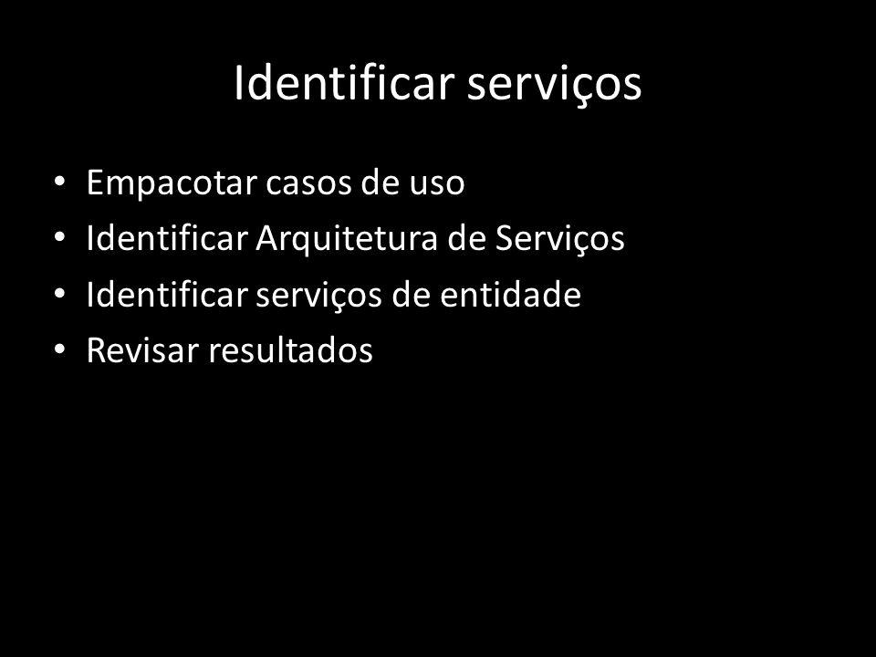 Identificar serviços Empacotar casos de uso
