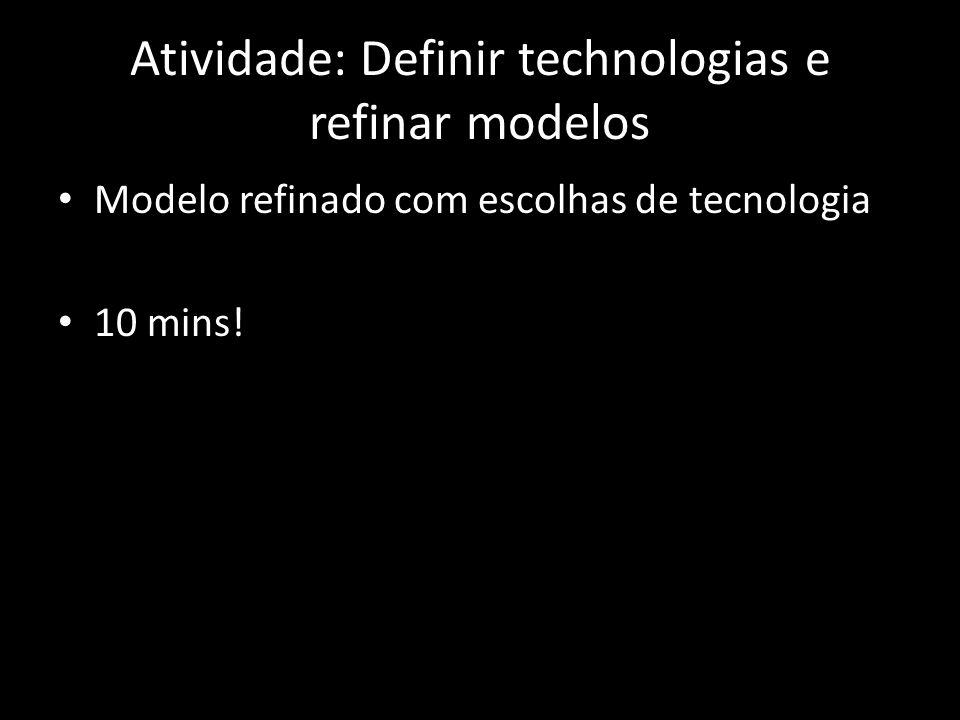 Atividade: Definir technologias e refinar modelos