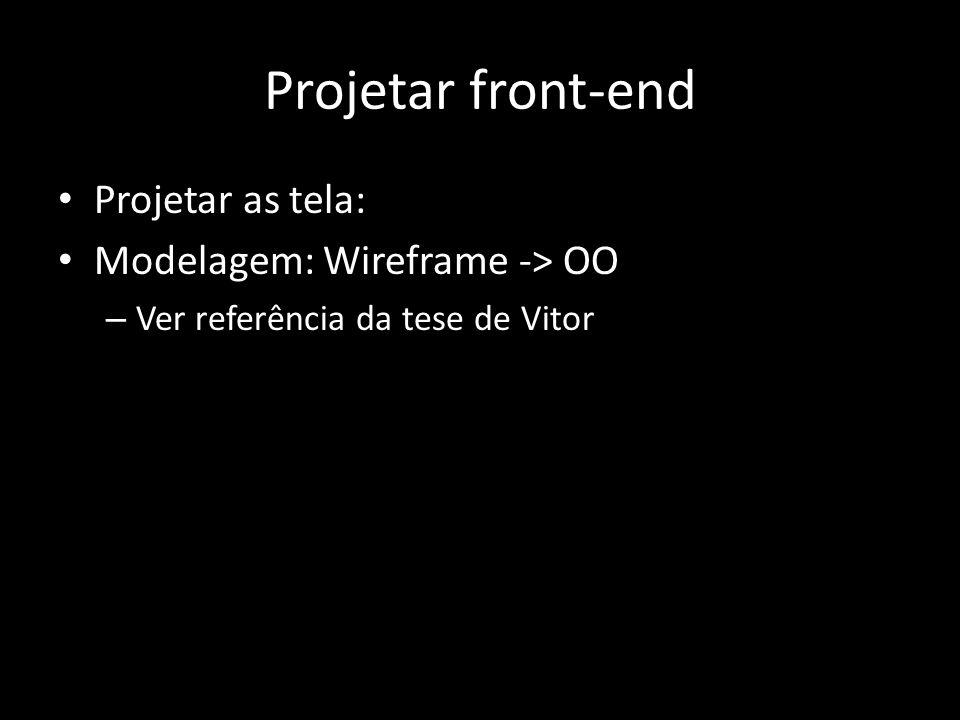 Projetar front-end Projetar as tela: Modelagem: Wireframe -> OO