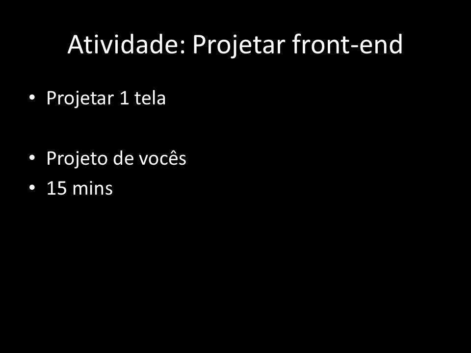 Atividade: Projetar front-end