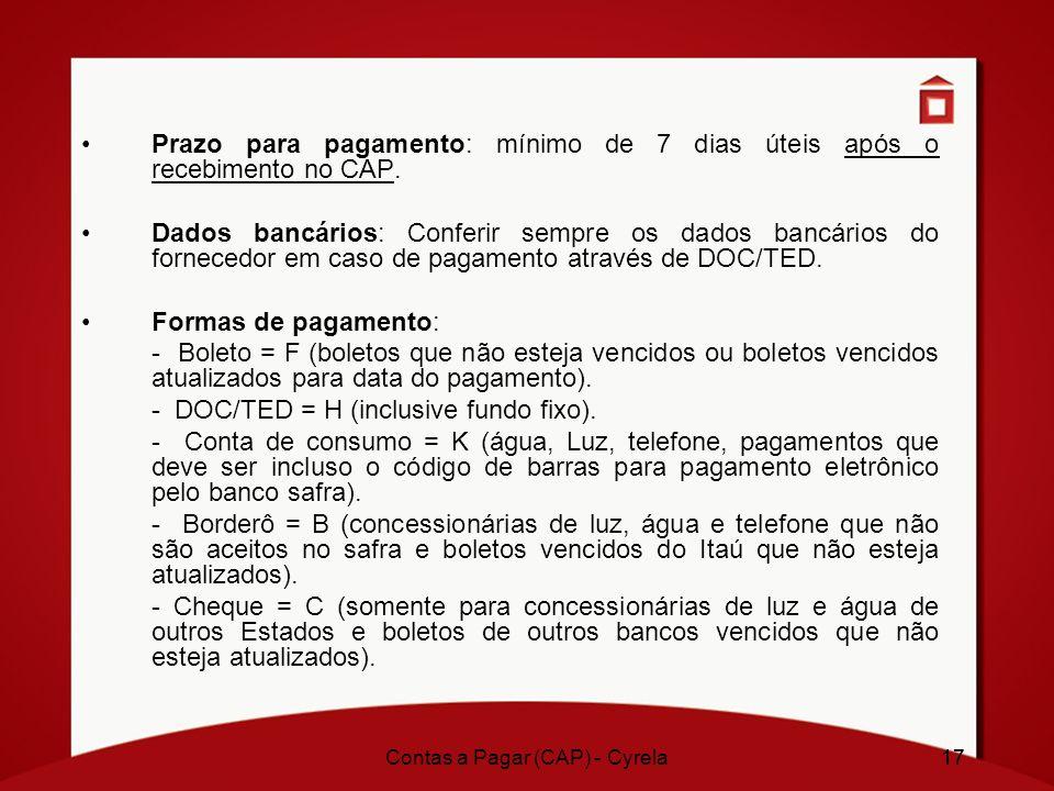 Contas a Pagar (CAP) - Cyrela