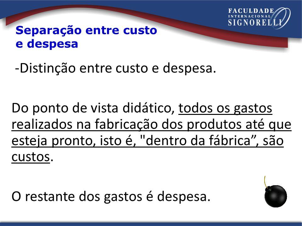 -Distinção entre custo e despesa.