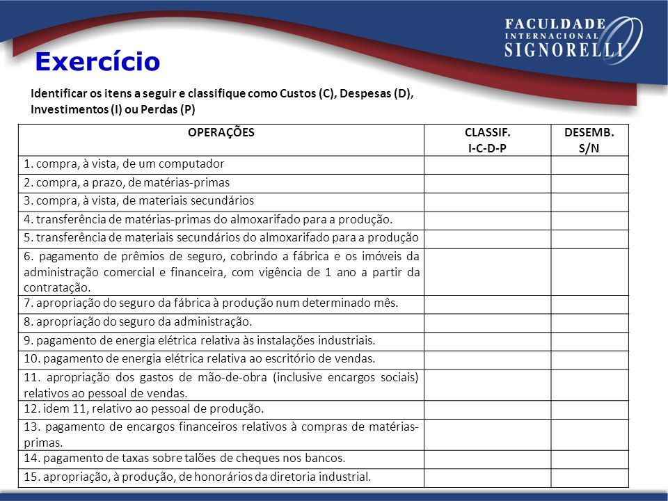 Exercício Identificar os itens a seguir e classifique como Custos (C), Despesas (D), Investimentos (I) ou Perdas (P)