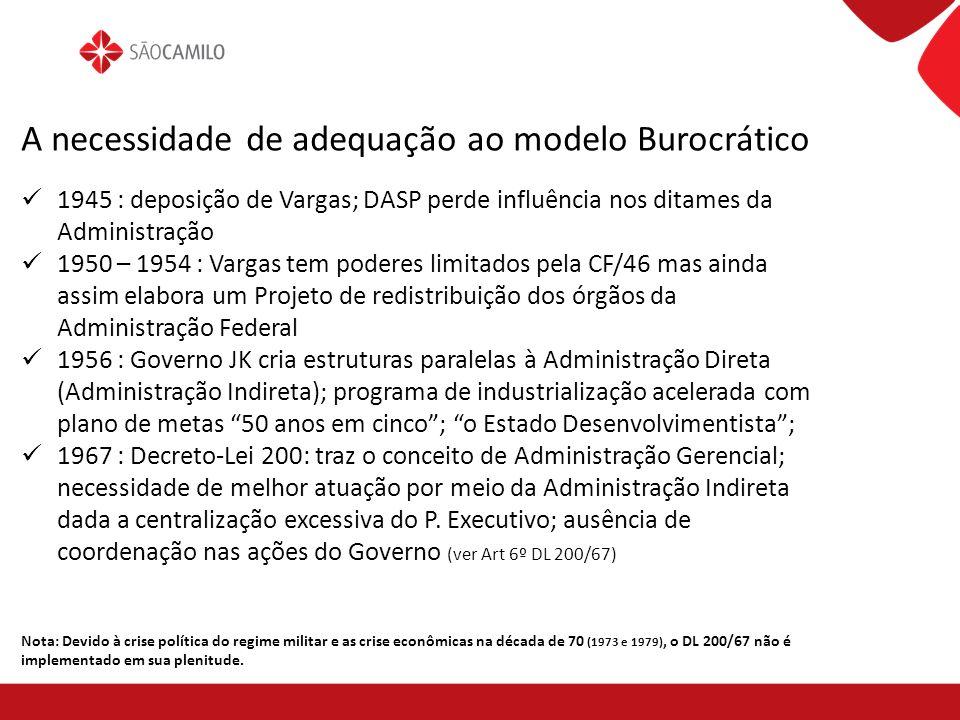 A necessidade de adequação ao modelo Burocrático