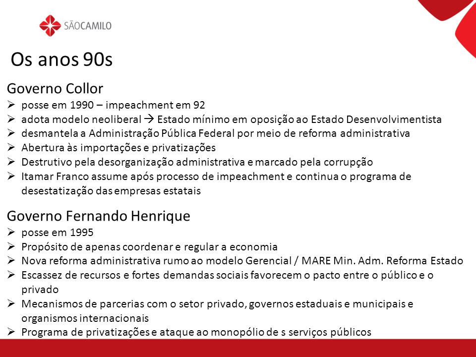 Os anos 90s Governo Collor Governo Fernando Henrique