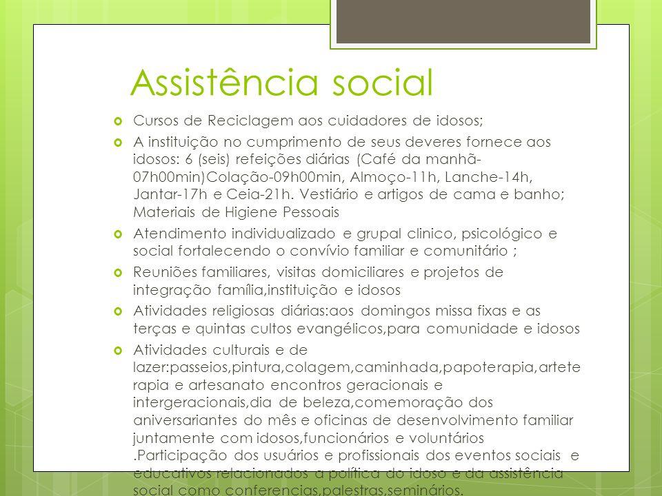 Assistência social Cursos de Reciclagem aos cuidadores de idosos;