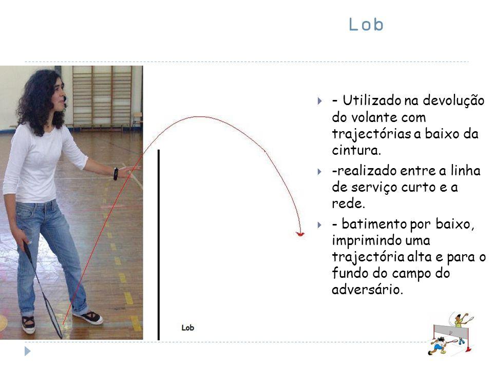 Lob - Utilizado na devolução do volante com trajectórias a baixo da cintura. -realizado entre a linha de serviço curto e a rede.