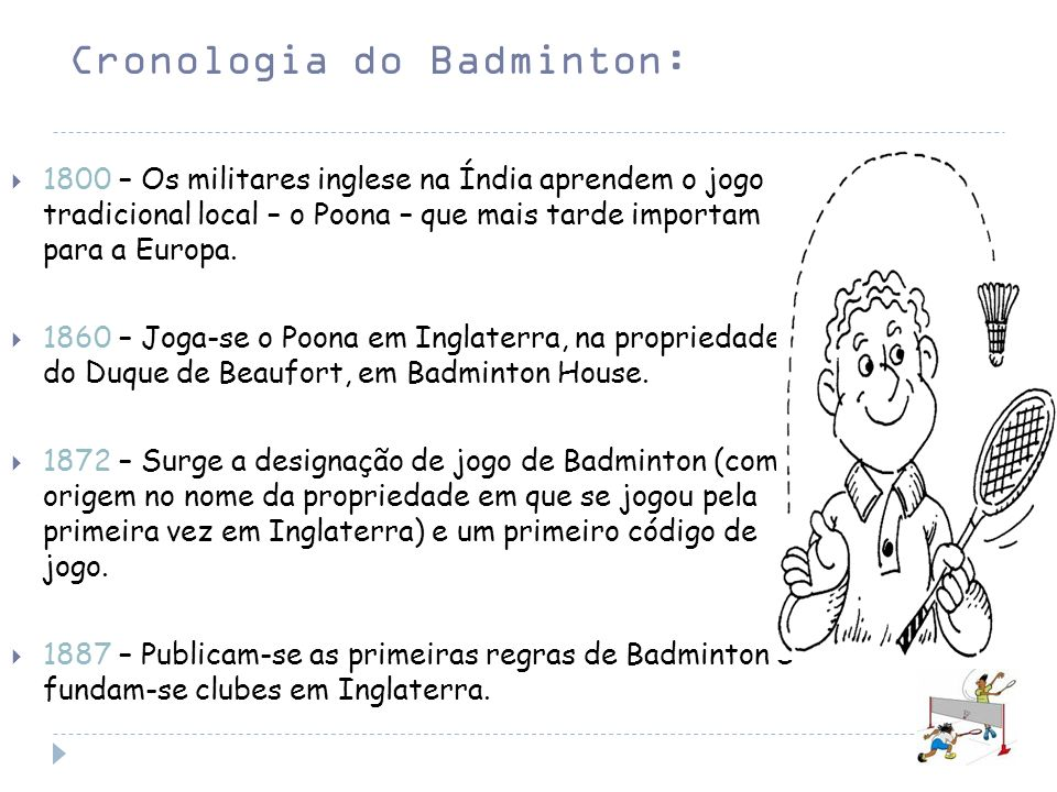 Cronologia do Badminton: