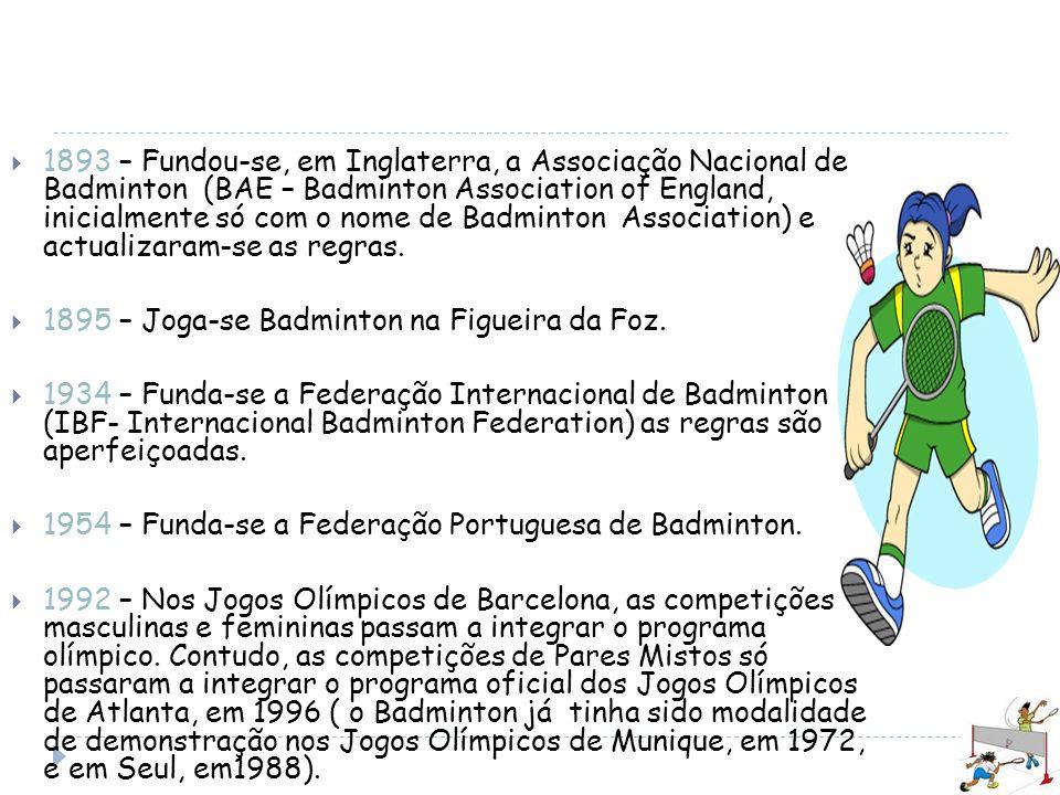 1893 – Fundou-se, em Inglaterra, a Associação Nacional de Badminton (BAE – Badminton Association of England, inicialmente só com o nome de Badminton Association) e actualizaram-se as regras.