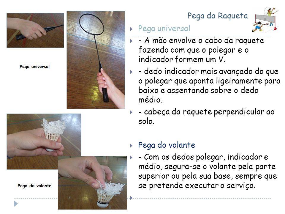 Pega da Raqueta Pega universal. - A mão envolve o cabo da raquete fazendo com que o polegar e o indicador formem um V.