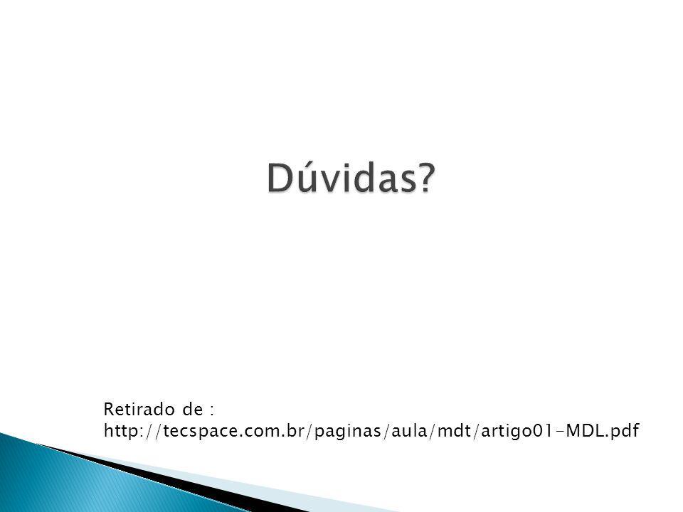 Dúvidas Retirado de : http://tecspace.com.br/paginas/aula/mdt/artigo01-MDL.pdf