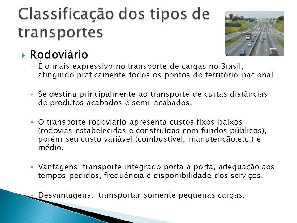 Classificação dos tipos de transportes