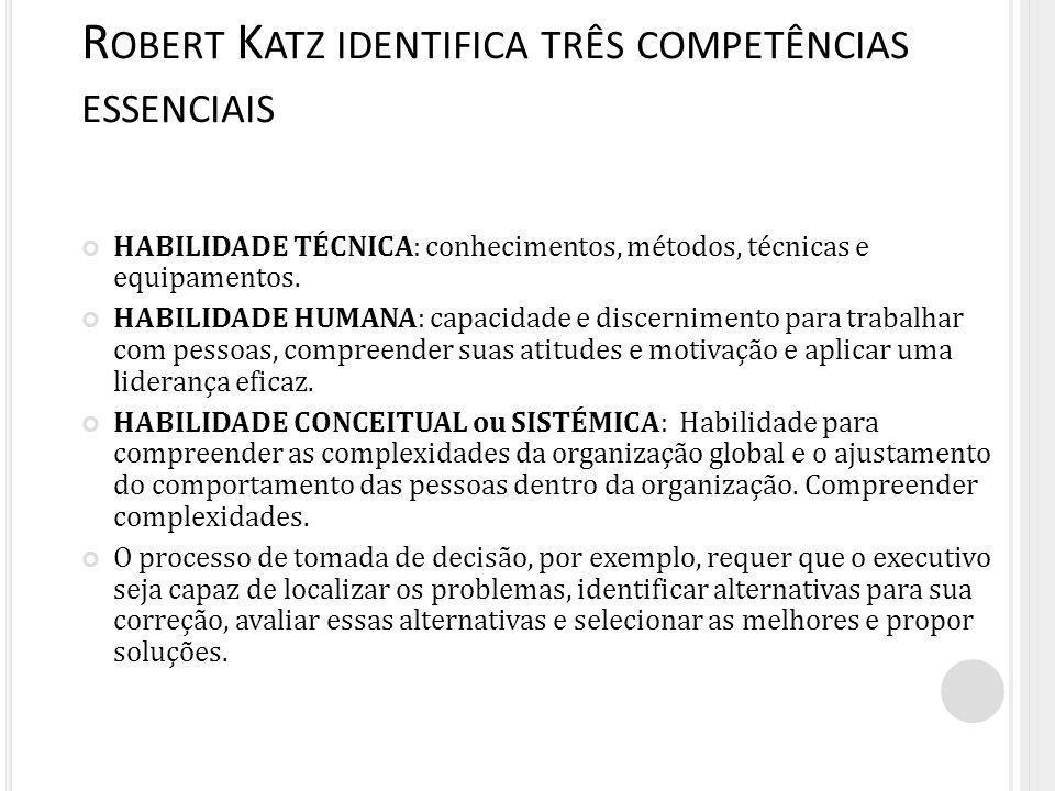Robert Katz identifica três competências essenciais